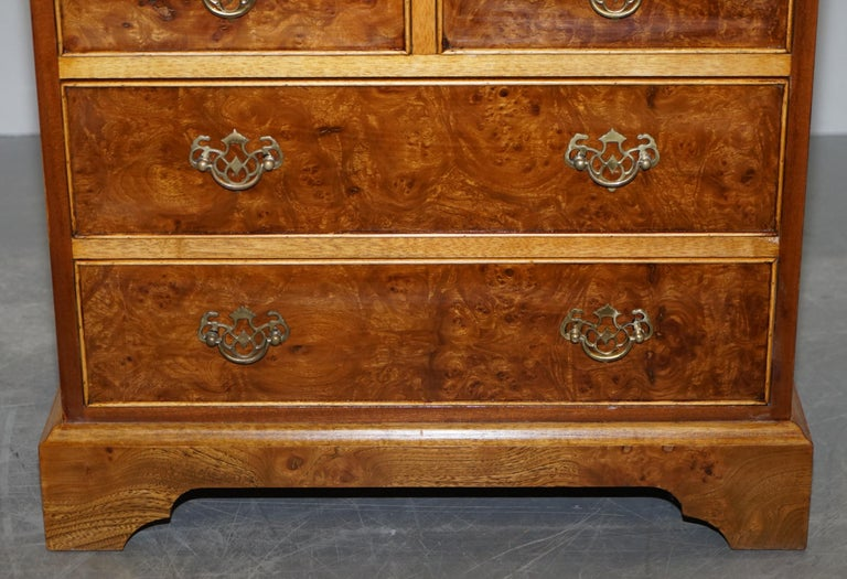 Stunning Pair of Burr & Burl Walnut & Elm Bedside, Side Table Chest of Drawers For Sale 10