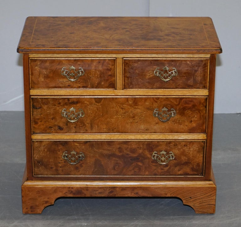 Art Deco Stunning Pair of Burr & Burl Walnut & Elm Bedside, Side Table Chest of Drawers For Sale