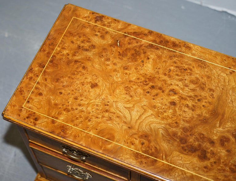 Hand-Crafted Stunning Pair of Burr & Burl Walnut & Elm Bedside, Side Table Chest of Drawers For Sale