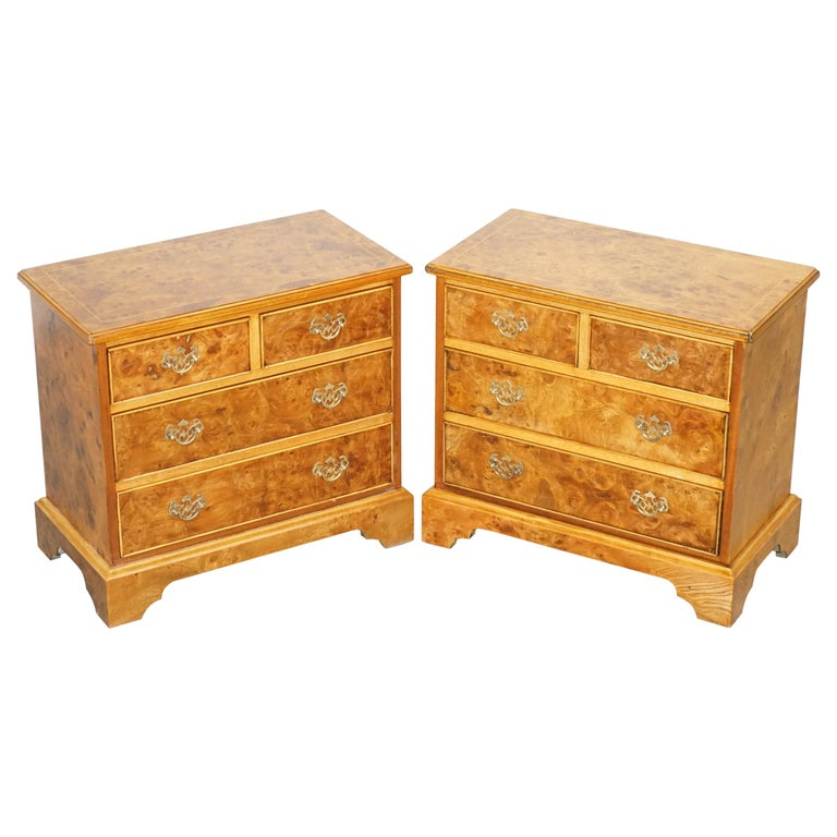 Stunning Pair of Burr & Burl Walnut & Elm Bedside, Side Table Chest of Drawers For Sale