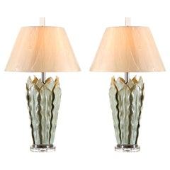 Stunning Pair of Ceramic Fern Leaf Vessels as Custom Lamps