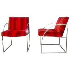 Stunning Pair of Chrome Milo Baughman Lounge Chairs, Alexander Girard Fabric
