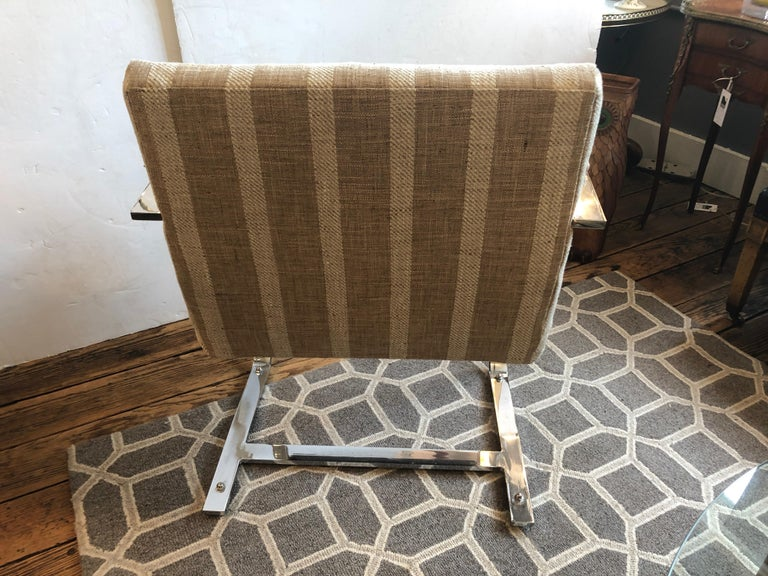 American Stunning Pair of Chrome and Upholstered Mid-Century Modern Armchairs For Sale