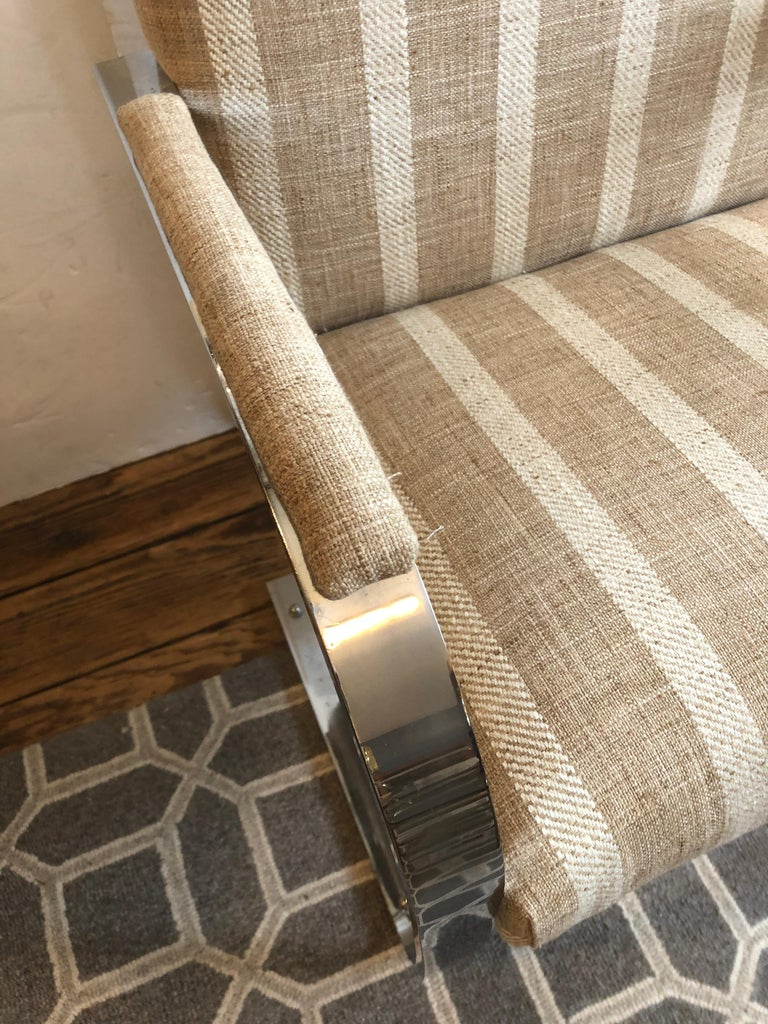 Late 20th Century Stunning Pair of Chrome and Upholstered Mid-Century Modern Armchairs For Sale