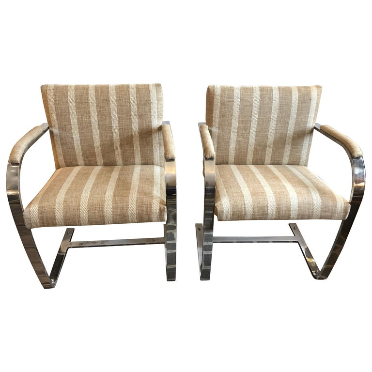 Stunning Pair of Chrome and Upholstered Mid-Century Modern Armchairs For Sale