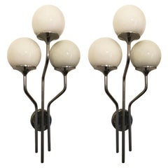 Stunning Pair of Chrome Wall Lights by Reggiani, Italy, 1960s