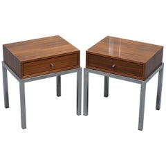 Stunning Pair of Chromed Base Teak Single Drawer Contemporary Side Lamp Tables