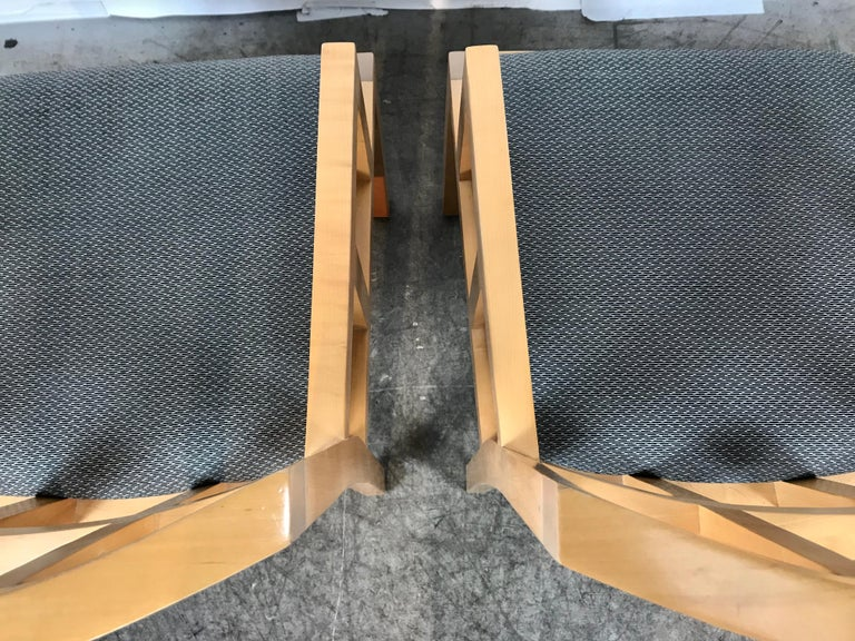 Stunning Pair of Contemporary Modern Birch Arm Chairs, Bernhardt Furniture Co. For Sale 4