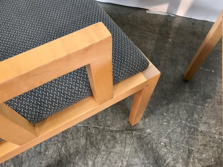 Stunning Pair of Contemporary Modern Birch Arm Chairs, Bernhardt Furniture Co. For Sale 5