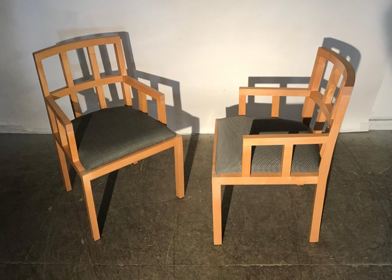 Stunning Pair of Contemporary Modern Birch Arm Chairs, Bernhardt Furniture Co. For Sale 8