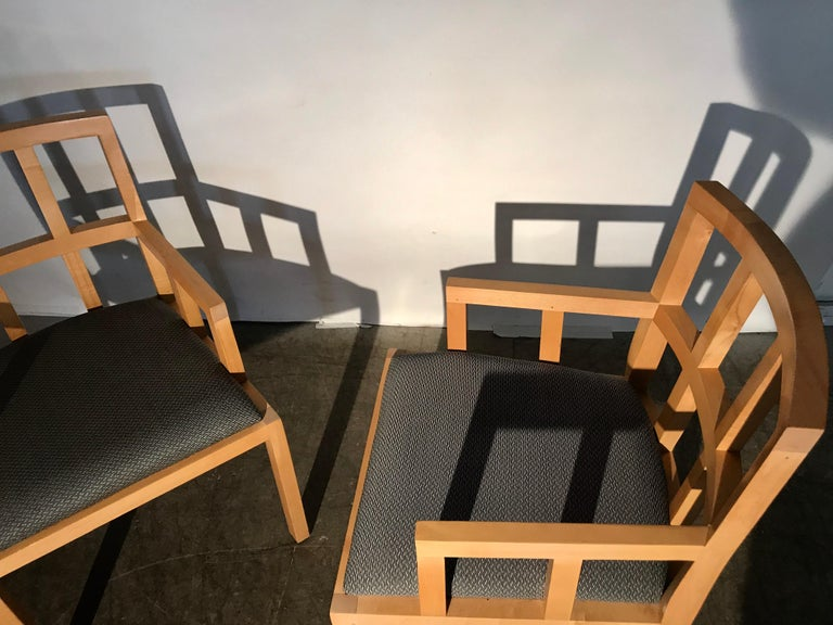 Stunning Pair of Contemporary Modern Birch Arm Chairs, Bernhardt Furniture Co. For Sale 9
