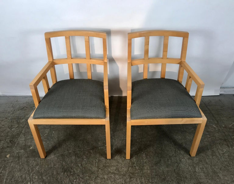 Stunning pair of contemporary modern birch armchairs, Bernhardt Furniture Co., Classic style and design, Superior quality and construction, super sturdy. Extremely comfortable, perfect captains chairs for dining room.