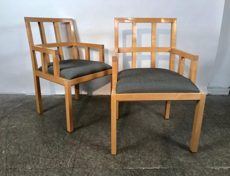 Mid-Century Modern Stunning Pair of Contemporary Modern Birch Arm Chairs, Bernhardt Furniture Co. For Sale