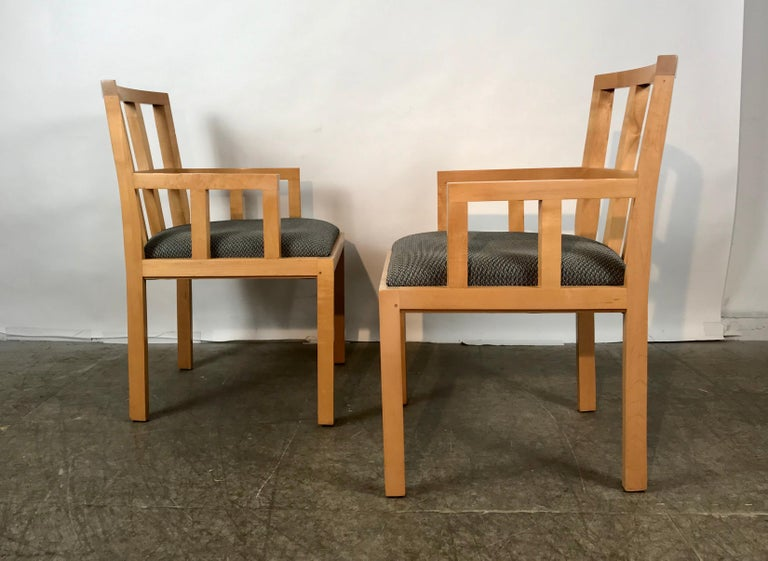 American Stunning Pair of Contemporary Modern Birch Arm Chairs, Bernhardt Furniture Co. For Sale