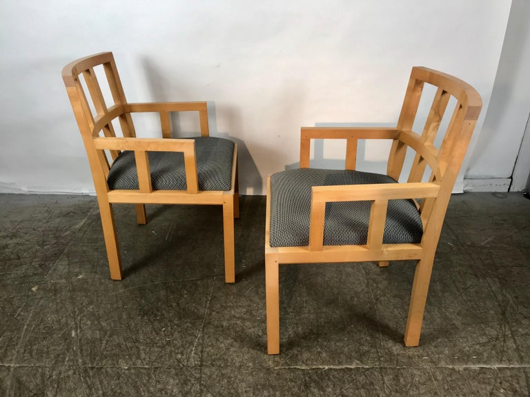 Stunning Pair of Contemporary Modern Birch Arm Chairs, Bernhardt Furniture Co. In Excellent Condition For Sale In Buffalo, NY