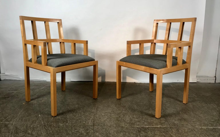 Fabric Stunning Pair of Contemporary Modern Birch Arm Chairs, Bernhardt Furniture Co. For Sale