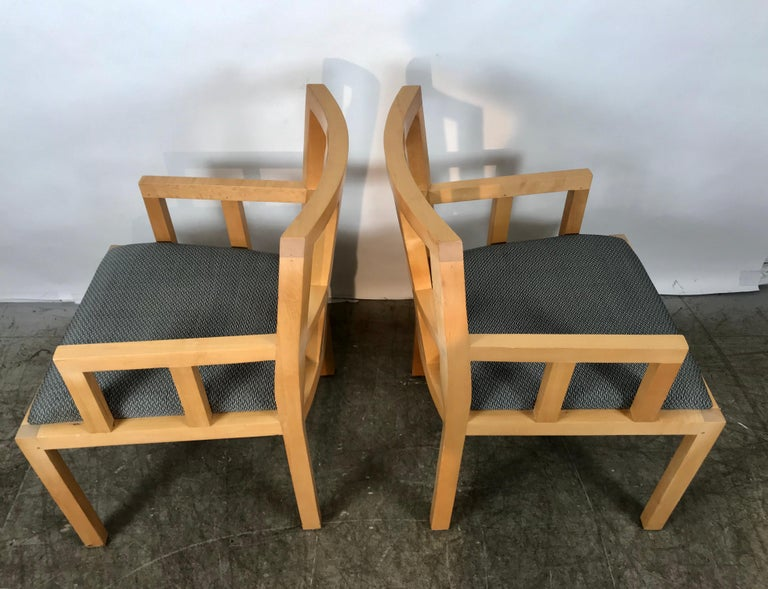 Stunning Pair of Contemporary Modern Birch Arm Chairs, Bernhardt Furniture Co. For Sale 1