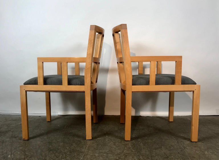 Stunning Pair of Contemporary Modern Birch Arm Chairs, Bernhardt Furniture Co. For Sale 2