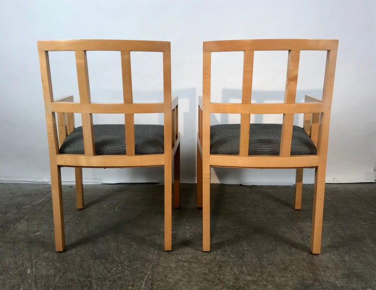 Stunning Pair of Contemporary Modern Birch Arm Chairs, Bernhardt Furniture Co. For Sale 3