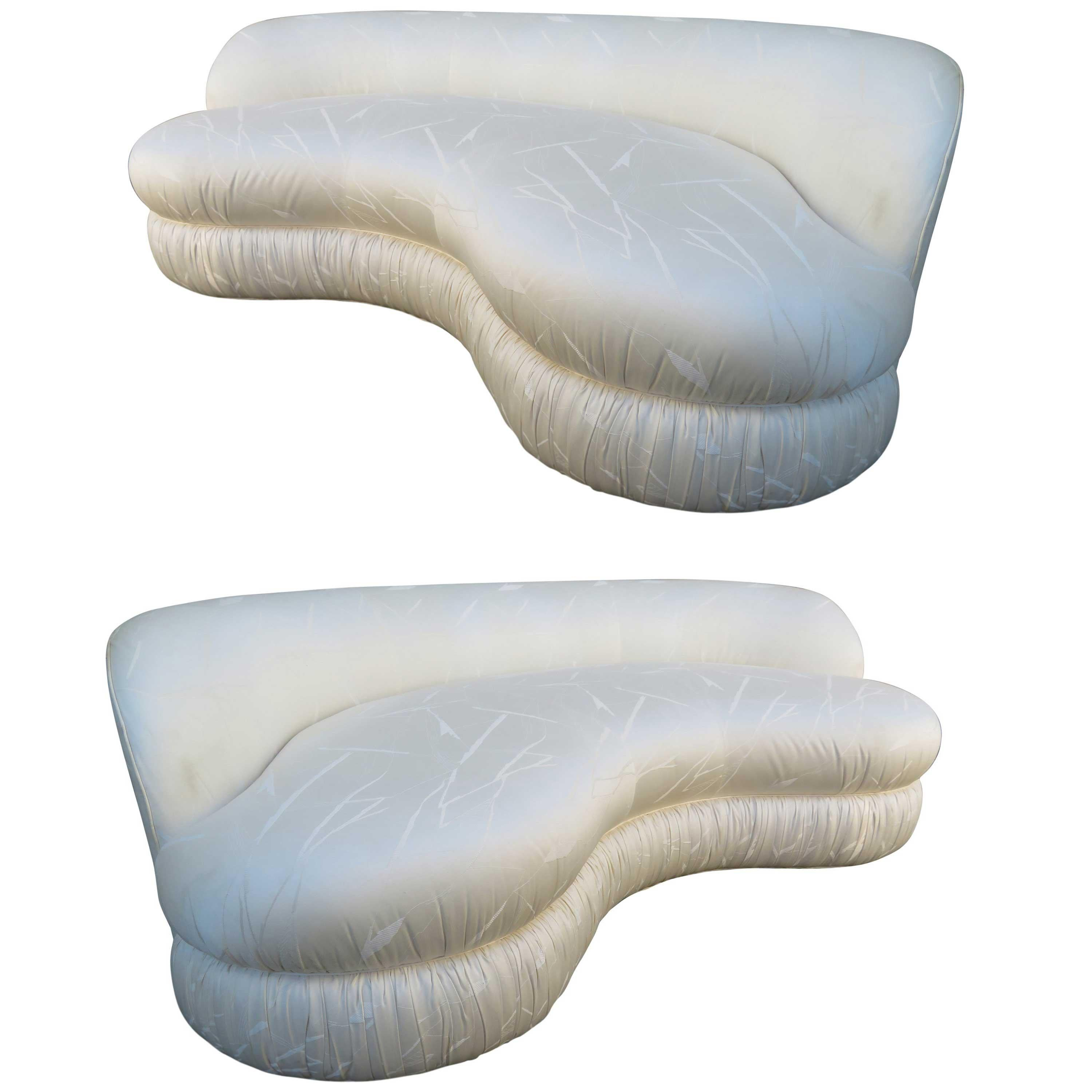 Stunning Pair of Curved Kidney Shaped Sofa Midcentury