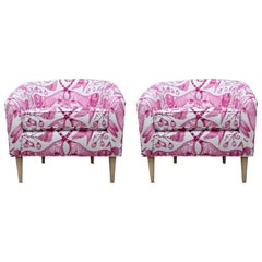 Stunning Pair of Custom Pink/White Barrel Back Lounge Chairs