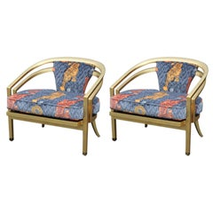 Stunning Pair of Custom Upholstered Modern Tiger Print 22-Karat Gold-Leaf Chairs