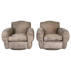 Stunning Pair of Deco Style Armchairs Upholstered in Elephant Print Leather