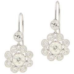 Old Mine Cut Diamond Floral Cluster Earrings in Platinum