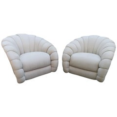 Stunning Pair of Directional Crescent Tufted Swivel Lounge Chair Midcentury