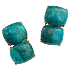 Stunning pair of Double Cushion Cabochon Chrysocolla Vermeil Clip-on Earrings