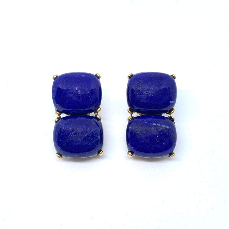 These stunning pair of earrings features 4 pieces of large cushion-shape cabochon-cut genuine lapis lazuli, hand bezel-set in 18k yellow gold vermeil over sterling silver. The classic double design allows the earrings to show off the beautiful and
