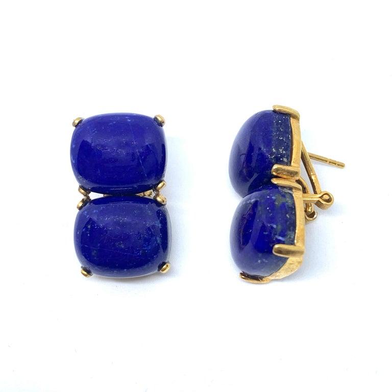 Artisan Stunning pair of Double Cushion Cabochon Lapis Lazuli Vermeil Earrings For Sale