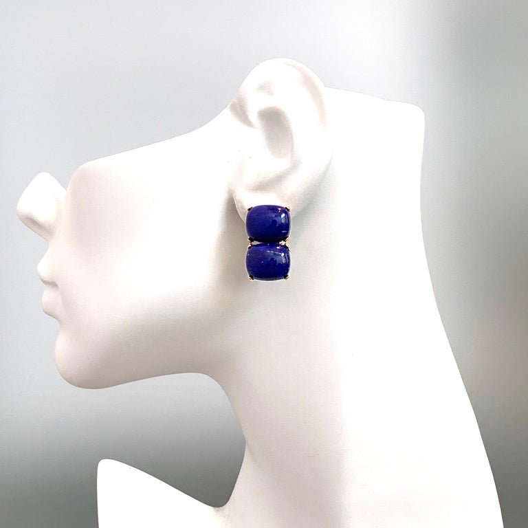 Stunning pair of Double Cushion Cabochon Lapis Lazuli Vermeil Earrings In New Condition For Sale In Los Angeles, CA