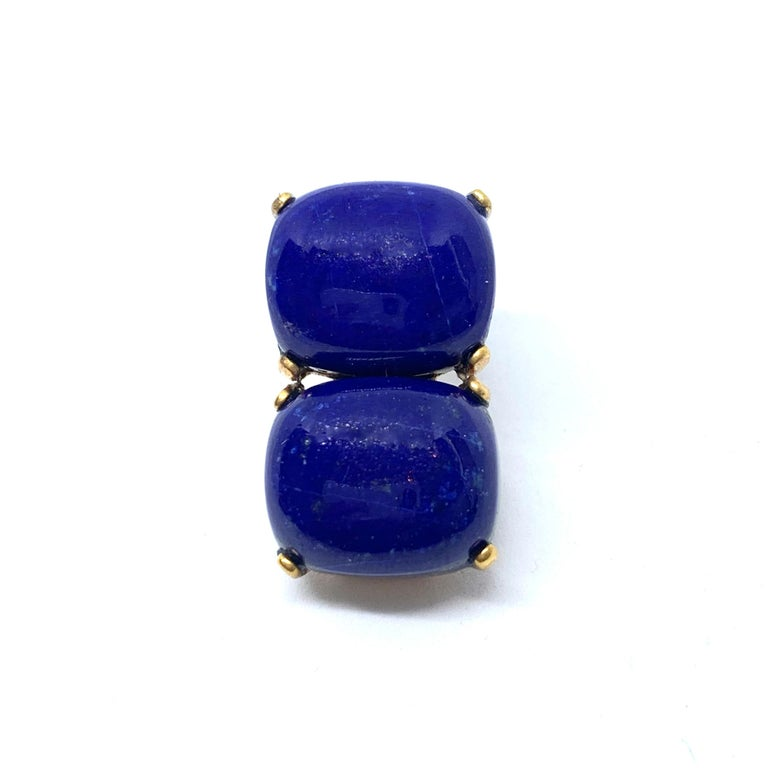Women's Stunning pair of Double Cushion Cabochon Lapis Lazuli Vermeil Earrings For Sale