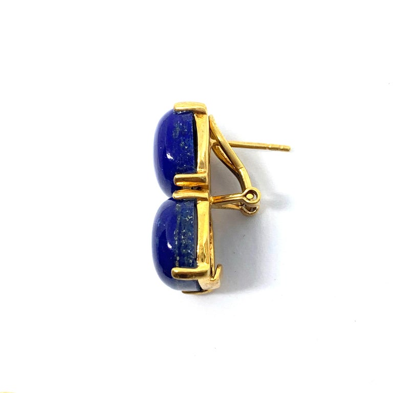 Stunning pair of Double Cushion Cabochon Lapis Lazuli Vermeil Earrings For Sale 1