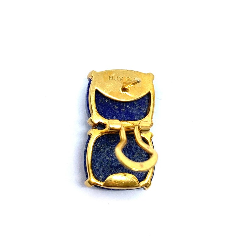 Stunning pair of Double Cushion Cabochon Lapis Lazuli Vermeil Earrings For Sale 2