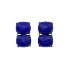 Stunning pair of Double Cushion Cabochon Lapis Lazuli Vermeil Earrings