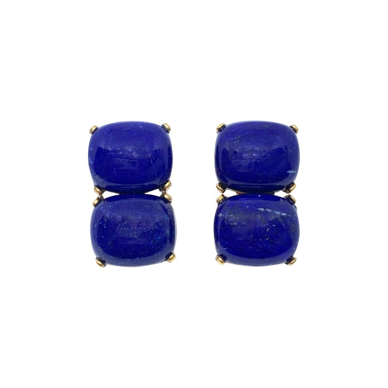 Stunning pair of Double Cushion Cabochon Lapis Lazuli Vermeil Earrings For Sale
