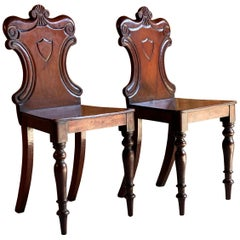Stunning Pair of Early 19th Century Victorian Mahogany Hall Chairs, circa 1825