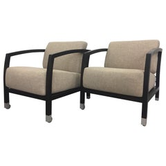 Stunning Pair of Ebonized and Upholstered Sophisticated Club Chairs
