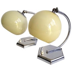 Stunning Pair of French Art Deco Table Lamps Lights,  Opaline Glass & Chrome