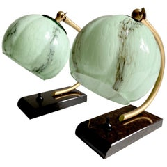 Stunning Pair of French Art Deco Table Lamp, Marble Green Opaline Glass Shade
