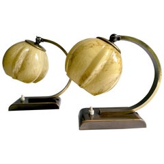 Art Deco,  Pair French Table Lamps Lights, Marble Glass Shades, Burnished Brass
