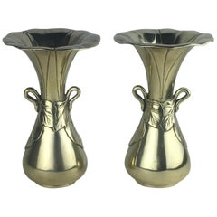 Stunning Pair of French Art Nouveau Vases, Solid Brass, circa 1900