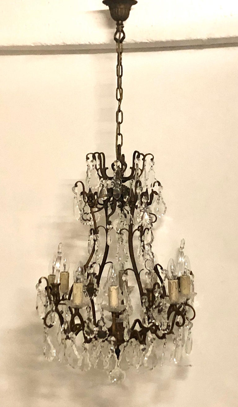 Stunning Pair of French Bronze and Crystal Chandeliers For Sale 6