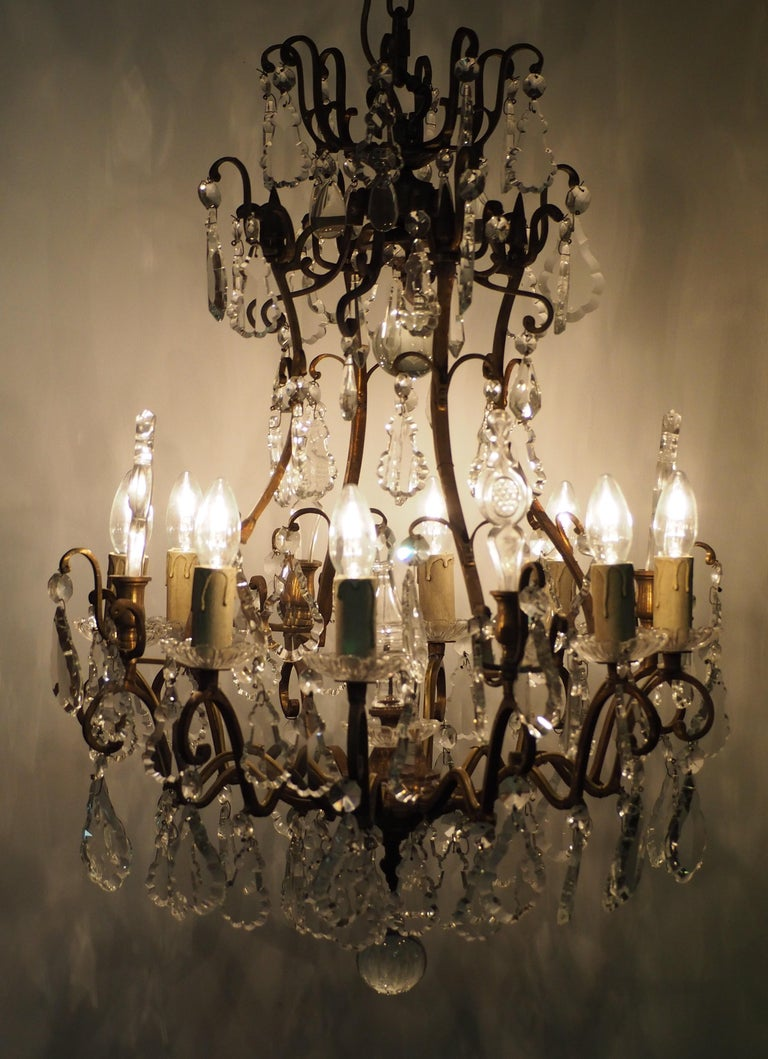 Stunning Pair of French Bronze and Crystal Chandeliers For Sale 9