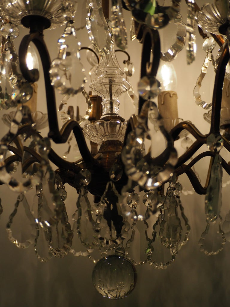 Stunning Pair of French Bronze and Crystal Chandeliers For Sale 10