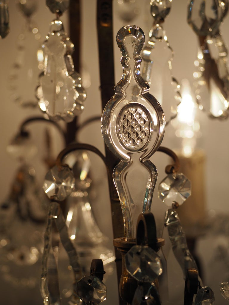 Stunning Pair of French Bronze and Crystal Chandeliers For Sale 11