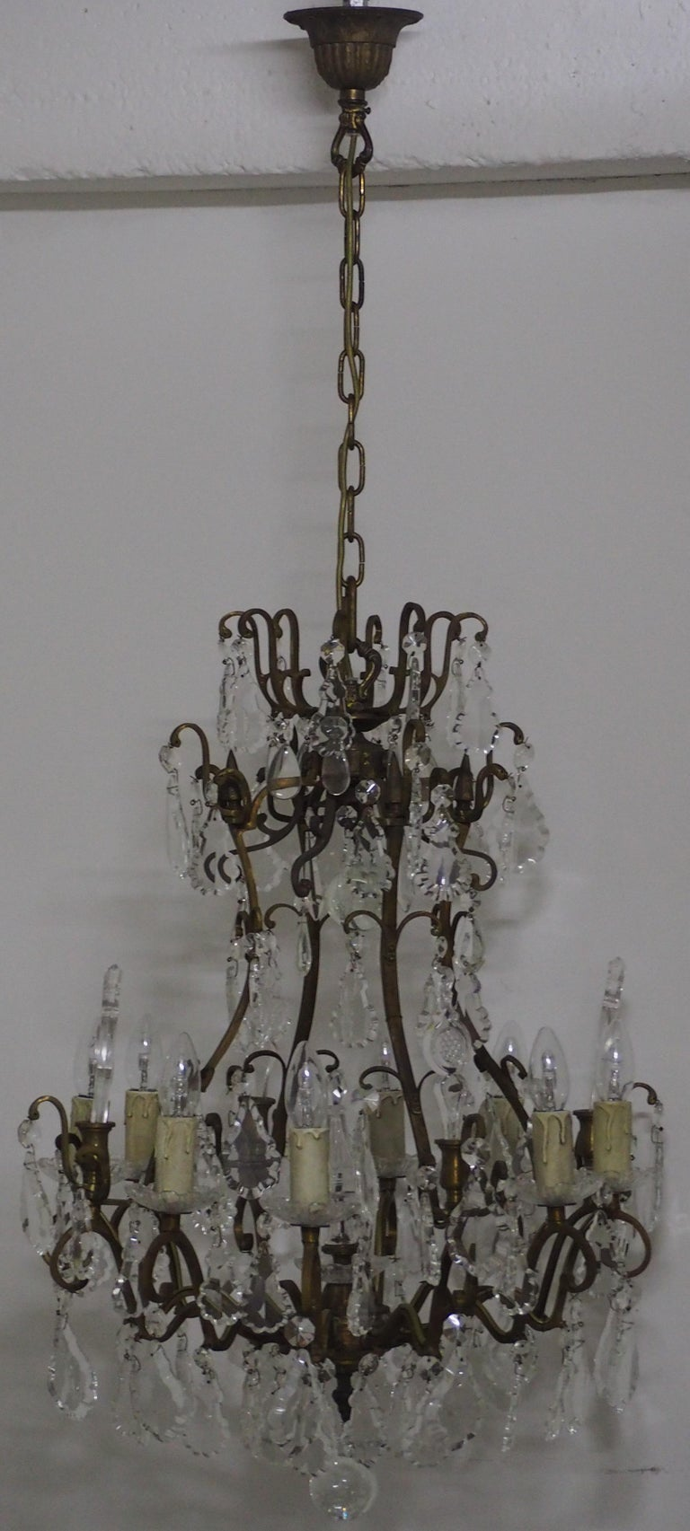 Stunning Pair of French Bronze and Crystal Chandeliers For Sale 12