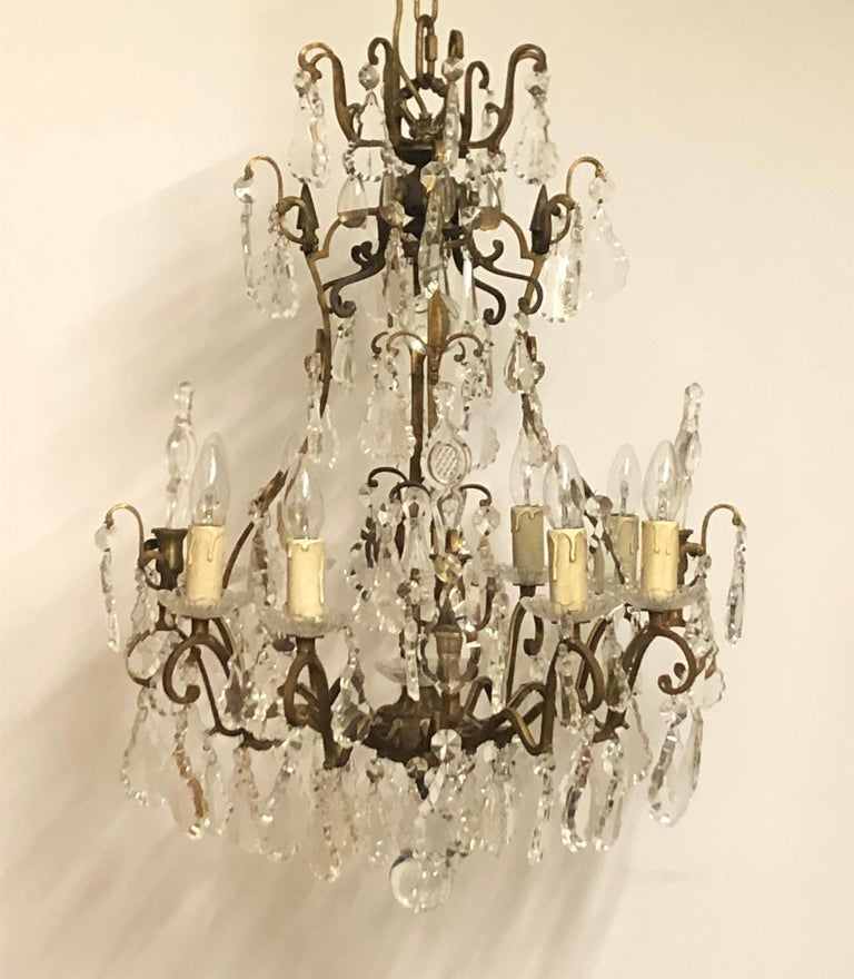 Louis XVI Stunning Pair of French Bronze and Crystal Chandeliers For Sale